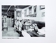 Calne Heritage Centre museum, Heritage Quarter,  Calne, Wiltshire, England, UK old photo Harris factory women wrapping hams 1890s