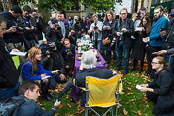 London, October 10 2017. Paul Flynn MP, his back to the camera, addresses the media as medical cannabis users from the United Patients Alliance gather at Old Palace Yard outside Parliament, demanding the decriminalisation of cannabis which they say has proven to be the most successful aid to pain relief, demanding that MPs respect the scientifically proven benefits of THC (tetrahydrocannabinol). © Paul Davey