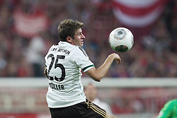 25.09.2013, Allianz Arena, Muenchen, GER, DFB Pokal, FC Bayern Muenchen vs Hannover 96, 2. Runde, im Bild am Ball Thomas MUELLER #25 (FC Bayern Muenchen) Kopfball // during German DFB Pokal Match between FC Bayern Munich and Hannover 96 at the Allianz Arena, Munich, Germany on 2013/09/25. EXPA Pictures © 2013, PhotoCredit: EXPA/ Eibner/ Christian Kolbert<br /> <br /> ***** ATTENTION - OUT OF GER *****