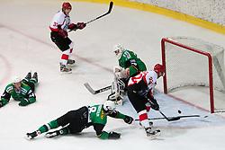 Jaka Podrekar of Jesenice scores a goal during Erste Bank Young Stars League ice hockey match between HD Jesenice Mladi and HK Olimpija, on November 4, 2012 in Ledena dvorana Bled, Bled, Slovenia. (Photo by Matic Klansek Velej / Sportida.com)