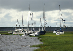 Dozens of boats are blown into the marsh, some sinking, near Langs Marina after Hurricane Irma hit the town on Monday, September 11, 2017, in St. Marys, GA, USA. Photo by Curtis Compton/Atlanta Journal-Constitution/TNS/ABACAPRESS.COM
