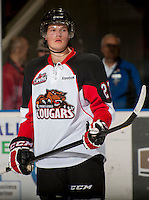 KELOWNA, CANADA - OCTOBER 18:  Alex Forsberg #27 of the Prince George Cougars stands on the ice against the Kelowna Rockets as the Prince George Cougars visit the Kelowna Rockets on October 18, 2012 at Prospera Place in Kelowna, British Columbia, Canada (Photo by Marissa Baecker/Shoot the Breeze) *** Local Caption ***