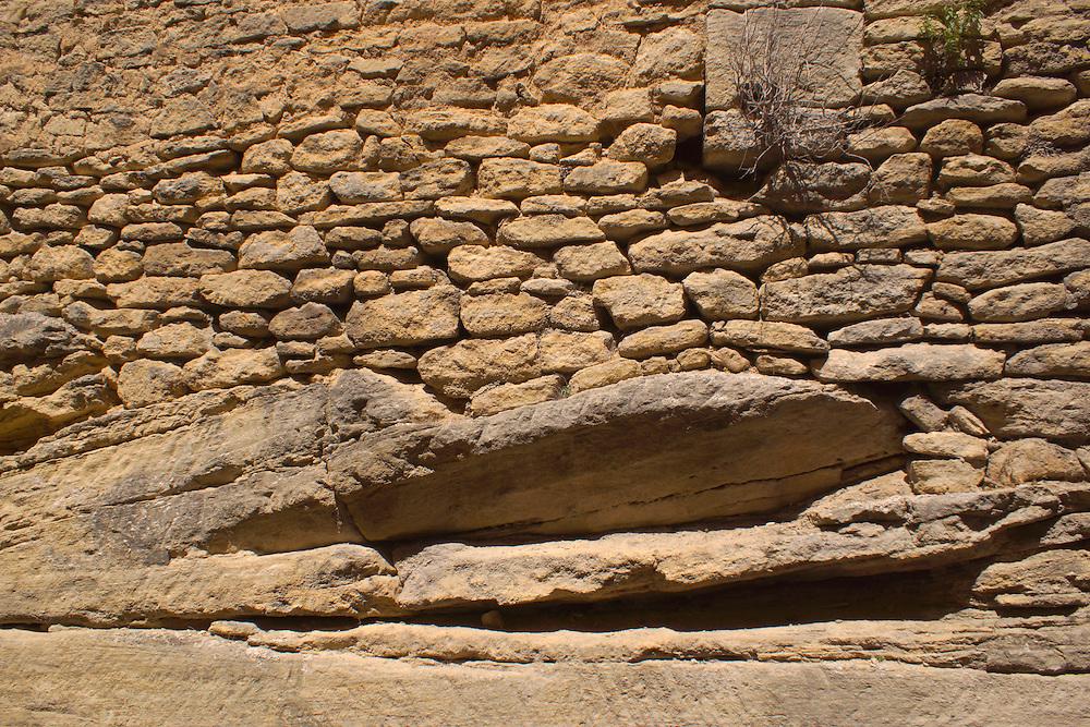 Southern France, Aubai, Medieval Village, Stone Blocks on Natural Stone Foundation