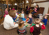 "Children's Librarian Pam Jansury leads ""Old MacDonald Had A Farm"" with instruments and singing during Story Time at the Gilmanton Year Round Library Wednesday morning.   (Karen Bobotas/for the Laconia Daily Sun)"