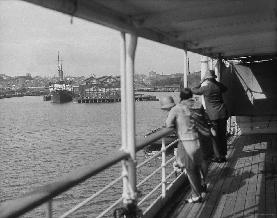 Landing Stage of Orient Liner, Woolloomooloo Bay, Sydney, Australia. 1930