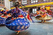Bhutan, Trashigang Dzong/monastery Buddhist festival/Teschu.