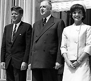US President John Kennedy, President Charles de Gaulle and Jackie Kennedy in Paris at the Elysee Palace May 31, 1961