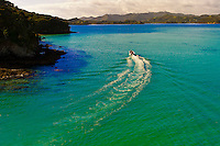 Aerial view of Waikare Inlet, the Bay of Islands in the Northland region of the north island of New Zealand.
