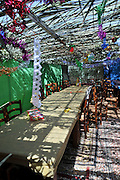Interior of a Sukkah during Sukkoth.