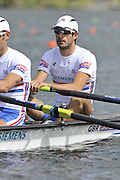 Hamilton, NEW ZEALAND. GBR LM2X, Bow Zac PURCHASE at  the start. Heat of the lightweight Men's double sculls.   2010 World Rowing Championships on Lake Karapiro Saturday  30/10/2010. [Mandatory Credit Peter Spurrier:Intersport Images].
