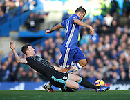 Chelsea's Diego Costa tussles with WBA's Jonny Evans during the Premier League match at Stamford Bridge Stadium, London. Picture date December 11th, 2016 Pic David Klein/Sportimage