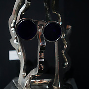 Chelsea Old Town Hall.London,England,UK. 26th April 2017. John Lennon / The Silver Beatle by Artist Guy Portelli exhibition  at Chelsea Art Fair - press & photocall of King's Road Revolution Where Art meets Music at Chelsea Old Town Hall. by See Li