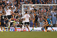 Matt Smith of Fulham (9)  heads the ball to score his teams 1st goal from a corner to make it 1-0. Skybet EFL championship match, Fulham v Newcastle Utd at Craven Cottage in Fulham, London on Friday 5th August 2016.<br /> pic by John Patrick Fletcher, Andrew Orchard sports photography.
