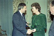 15 November 1991<br /> <br /> Bertie Ahern receiving Seal of Office from President Mary Robinson.