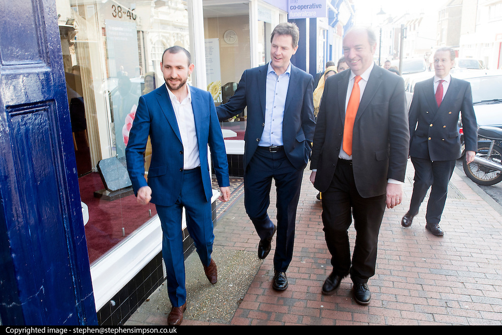 © Licensed to London News Pictures. 14/04/2015. Seaford, UK. NICK CLEGG ARRIVES FOR LUNCH WITH LOCAL COUNCELLORS AND SUPPORTERS.  Deputy Prime Minister and Leader of the Liberal Democrats, Nick Clegg joins local MP Norman Baker to visit Craddle Hill Primary School, Seafood, Sussex, today 13th April 2015, to participate with pupils in a workshop that aims to involve children and young people in community planning.. Photo credit : Stephen Simpson/LNP