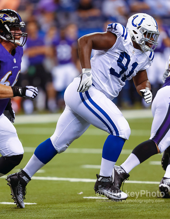 INDIANAPOLIS, IN - AUGUST 20: Hassan Ridgeway #91 of the Indianapolis Colts rushes during the game against the Baltimore Ravens at Lucas Oil Stadium on August 20, 2016 in Indianapolis, Indiana.  (Photo by Michael Hickey/Getty Images) *** Local Caption *** Hassan Ridgeway