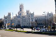 The facade of the Palacio de Cibeles, City Hall, Madrid, Spain