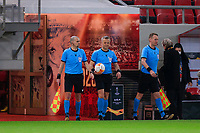 PIRAEUS, GREECE - FEBRUARY 25: The referees prior to the UEFA Europa League Round of 32 match between Arsenal FC and SL Benfica at Karaiskakis Stadium on February 25, 2021 in Piraeus, Greece. (Photo by MB Media)