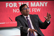 Former City financier Professor Avinash Persaud launches a new policy paper in London on modernising the UKs existing financial transactions tax i.e. Robin Hood Tax on July 18th 2017 in London, United Kingdom. Speaking on a panel with Labours Shadow Chancellor John McDonnell, who has adopted the papers policy recommendations.