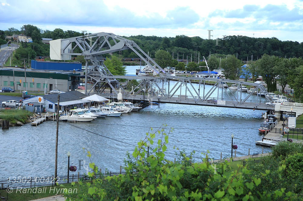 Marinas and draw bridge on Ashtabula River in downtown Ashtabula, Ohio.