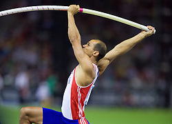 Romain Mesnil of France competes in the men's Pole Vault Final during day eight of the 12th IAAF World Athletics Championships at the Olympic Stadium on August 22, 2009 in Berlin, Germany. (Photo by Vid Ponikvar / Sportida)