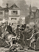 The Peasants' Revolt of 1381 in England began in Brentwood, Essex as a protest at the collection of poll tax and reached a climax at Smithfield, London.  Richard II (1367-1800) met the Kentish peasants who, under Watt Tyler (d1381), were demanding the end of serfdom. During the meeting William Walworth (d1385) Lord Mayor of London, wounded Wat Tyler who was taken to St Bartholomew's Hospital but was later dragged out of the hospital and beheaded. Engraving c1831.