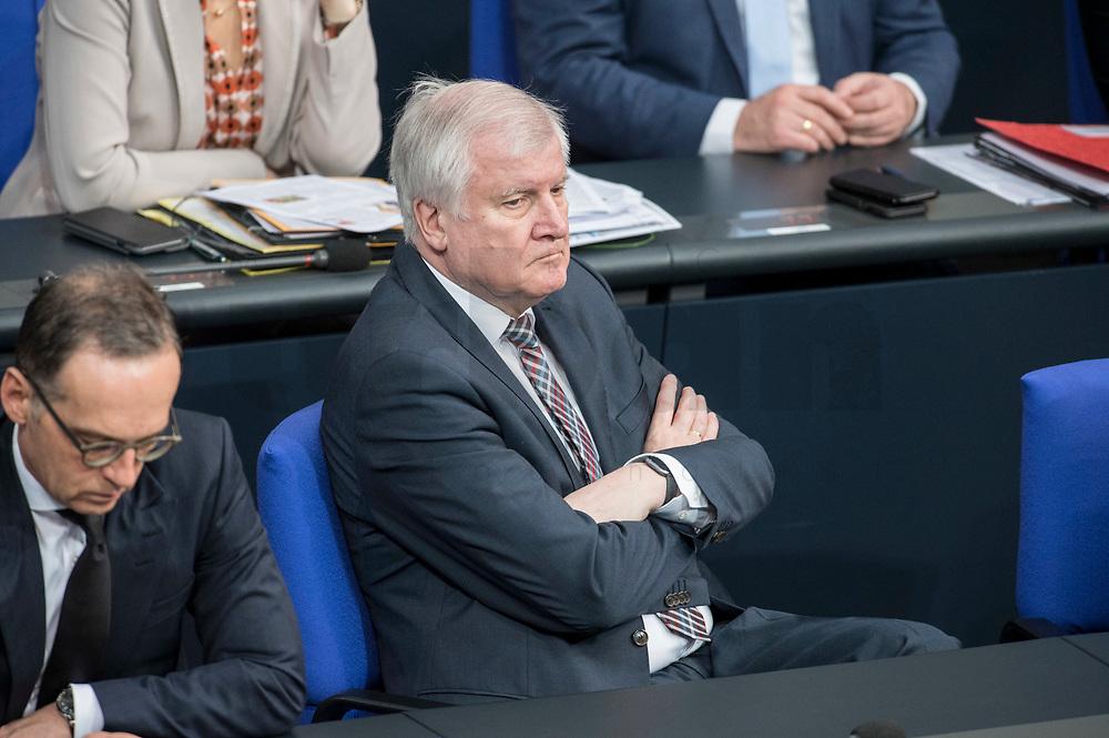 21 MAR 2019, BERLIN/GERMANY:<br /> Horst Seehofer, CSU, Bundesinnenminister, BUndestagsdebatte zur Regierungserklaerung der Bundeskanzlerin zum Europaeischen Rat, Plenum, Deutscher Bundestag<br /> IMAGE: 20190321-01-041
