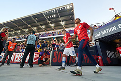 March 21, 2019 - Orlando, FL, U.S. - ORLANDO, FL - MARCH 21: United States midfielder Christian Pulisic (10) and United States midfielder Weston McKennie (8) take the field for warmups prior to game action during an International friendly match between the United States and Ecuador on March 21, 2019 at Orlando City Stadium in Orlando, FL. (Photo by Robin Alam/Icon Sportswire) (Credit Image: © Robin Alam/Icon SMI via ZUMA Press)