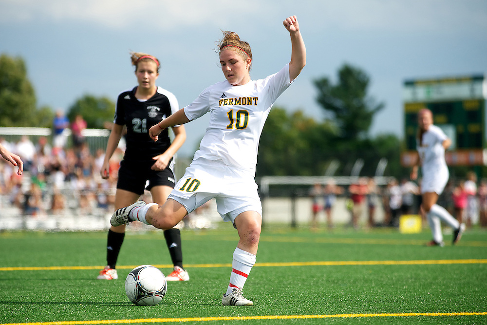 Vermont midfielder Kerry Glynn (10) kicks the ball during the women's soccer game between the Brown Bears and the Vermont Catamounts at Virtue Field on Saturday afternoon September 8, 2012 in Burlington, Vermont.