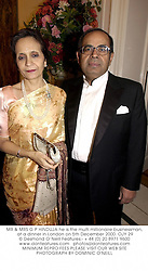 MR & MRS G P HINDUJA he is the multi millionaire businessman, at a dinner in London on 5th December 2000.OJY 29