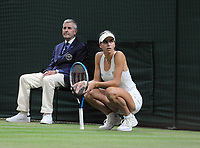 Lawn Tennis - 2021 All England Championships - Week Two - Monday - Wimbledon<br /> Emma Raducanu v Ajia Tomijanovic<br /> <br />  Ajia Tomijanovic waits to see if Emma Raducanu comes back on court for a medical time out<br /> <br /> Credit : COLORSPORT/Andrew Cowie