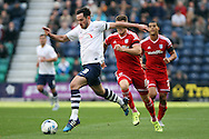 Greg Cunningham of Preston North End makes a break. Skybet football league championship match, Preston North End v Cardiff City at the Deepdale stadium in Preston, Lancashire on Saturday 17th October 2105.<br /> pic by Chris Stading, Andrew Orchard sports photography.