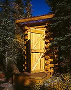 Log outhouse near Rick Howell's cabin, Glacier View, Alaska.