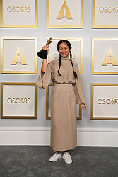 Chloé Zhao poses backstage with the Oscar® for Directing during the live ABC Telecast of The 93rd Oscars® at Union Station in Los Angeles, CA, USA on Sunday, April 25, 2021. Photo by Matt Petit/A.M.P.A.S. via ABACAPRESS.COM