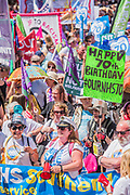 #OurNHS70: free, for all, forever a protest and celebration march in honour of the 70 year history of the National Health Service. Organised by: The People's Assembly, Trades Union Congress, Unison, Unite, GMB, British Medical Association, Royal College of Nursing, Royal College of Midwives amongst others.