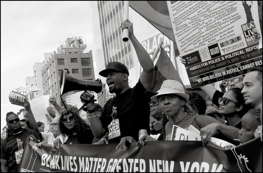 On August 12th, 2019, Hawk Newsome and Black Lives Matter New York marched from the Adam Clayton Powell Jr. State building to Trump Tower, remembering Eric Garner and protesting Officer Panteleo's continued employment with NYPD and Mayor De Balsio's failure to hold him to account for Eric Garner's death.