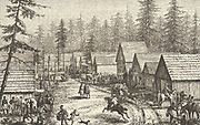 Busy street scene at Cisco Station,California, c1875. Engraving.