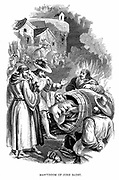Burning of John Badby (d1410) at Smithfield, London, for heresy. A tailor from Worcester, he was a Lollard and follower of Wycliffe. Denied transubstantiation. Wood engraving, 1848.