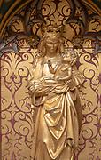 16th century Flemish reredos screen of Crucifixion, Cavendish church, Suffolk, England, UK