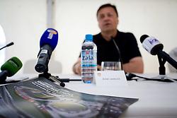 Mayor of Ljubljana Zoran Jankovic at press conference open door day 1 year before opening of new football stadium and sports hall in Stozice,  on June 30, 2009, at Stadium Stozice, Ljubljana, Slovenia. (Photo by Vid Ponikvar / Sportida)