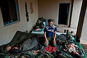 An Afghan National Army soldiers makes his morning prayer at Patrol Base McElhinney.