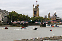 Palace of Westminster, Houses of Parliament, Big Ben, Elizabeth Tower, Lambeth Bridge, London Fire Brigade inflatable, London Fire Brigade fire rescue boat Fire Dart, RNLI Royal National Lifeboat Institution E class lifeboat Hurley Burley E-07, Metropolitan Police Marine Unit Rigid Inflatable Boat (RIB), Emergency Services Exercise, Lambeth Reach River Thames, London UK, 23 October 2017, Photo by Richard Goldschmidt
