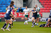 Sale Sharks Will Cliff throws a pass during a Gallagher Premiership Round 14 Rugby Union match, Sunday, Mar 21, 2021, in Eccles, United Kingdom. (Steve Flynn/Image of Sport)