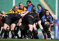 Photo: Jonathan Butler.<br /> <br /> Northwich v Bradford Salem. EDF Energy Senior Vase Final. 15/04/2007. Bradford scrumhalf Dave Howcroft passes