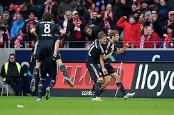 02.02.2013, Coface Arena, Mainz, GER, 1. FBL, 1. FSV Mainz 05 vs FC Bayern Muenchen, 20. Runde, im Bild Jubel Thomas MUELLER (FC Bayern Muenchen - 25) - Bastian SCHWEINSTEIGER (FC Bayern Muenchen - 31) und Javier MARTINEZ (FC Bayern Muenchen - 8) nach dem 0-1 durch Thomas MUELLER (FC Bayern Muenchen - 25) // during the German Bundesliga 20th round match between 1. FSV Mainz 05 and FC Bayern Munich at the Coface Arena, Mainz, Germany on 2013/02/02. EXPA Pictures © 2013, PhotoCredit: EXPA/ Eibner/ Gerry Schmit..***** ATTENTION - OUT OF GER *****