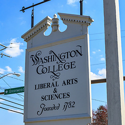 Chestertown, MD, USA - March 30, 2013:A hanging sign at Washington College in Chestertown Maryland