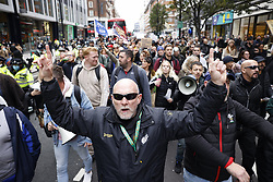 © Licensed to London News Pictures. 17/10/2020. London, UK. Protestors calling for an end to Coronavirus lockdown restrictions march on Oxford Street in central London. Other groups who believe that the virus is a hoax and a conspiracy have also joined today's demonstration called the ' March for Freedom'. Photo credit: Peter Macdiarmid/LNP