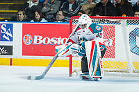 KELOWNA, CANADA - APRIL 25: Michael Herringer #30 of the Kelowna Rockets kneels on the ice during a time out against the Seattle Thunderbirds on April 25, 2017 at Prospera Place in Kelowna, British Columbia, Canada.  (Photo by Marissa Baecker/Shoot the Breeze)  *** Local Caption ***