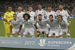 August 16, 2017 - Madrid, Spain - Real Madrid starting eleven. Real Madrid defeated Barcelona 2-0 in the second leg of the Spanish Supercup football match at the Santiago Bernabeu stadium in Madrid, on August 16, 2017. (Credit Image: © Antonio Pozo/VW Pics via ZUMA Wire)