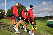 Wales players James Chester (l), Joe Allen (c) and Hal Robson-Kanu ® arrive for the Wales football team training at the Vale Resort, Hensol , South Wales on Monday 2nd October 2017, the team are preparing for their FIFA World Cup qualifier away to Georgia this week. pic by Andrew Orchard, Andrew Orchard sports photography